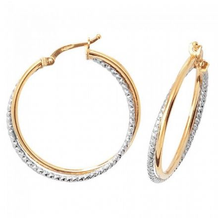 Just Gold Earrings -9Ct 2 Tone Hoop Earrings, ER936